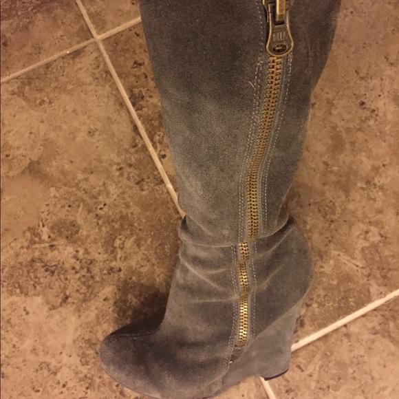 5edc591de41 Women's Gray suede wedge heel knee high boot